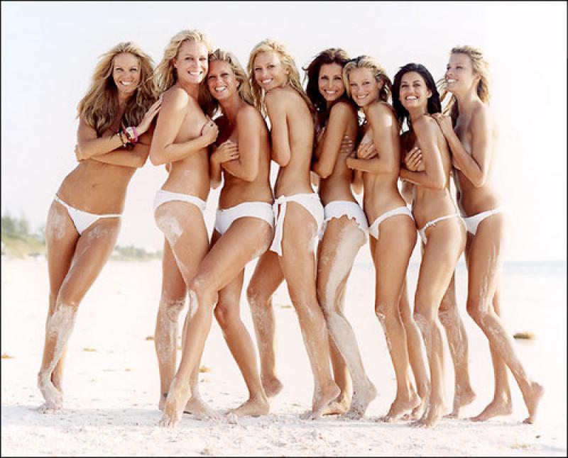 Lesbian topless women in group